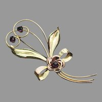 Harry ISKIN Signed Vintage 1940's Gold Filled Rhinestone Retro Flower Pin