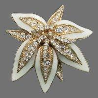 White Poinsettia Flower Enamel & Rhinestone Vintage Pin