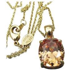 Gold Filled Oval CZ Topaz Vintage Pendant Necklace, Signed WLIND