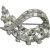 Vintage 1940's Retro Crystal Rhinestone Deco Rhodium Pin