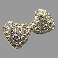 Swan Signed Swarovski Vintage Crystal Rhinestone HEART Stud Earrings