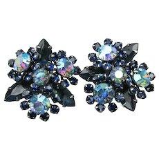 Sparkling Black & Blue AB Rhinestone Vintage Clip Earrings