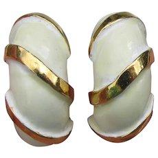 Kenneth Jay Lane Signed KJL White Enamel Clip Demi Hoop Vintage Earrings
