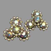 Brilliant Aurora Borealis Rhinestone Vintage Clip Earrings