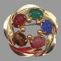 Signed Burt CASSELL Gold Filled Vintage Egyptian Revival SCARAB Pin