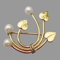 Signed WRE Richards Gold Filled Mid-Century Modern Cultured Pearl Leaf Pin