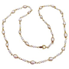 Signed TRIFARI Vintage Delicate Chain & Faux Pearl Necklace