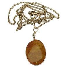 Gorgeous Honey Egg Yolk Amber Pendant Gold Filled Vintage Necklace