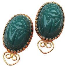 Big 1960's Egyptian Revival Green SCARAB clip Earrings
