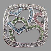 Swan Signed SWAROVSKI Crystal Multi-Color Rhinestone HEART Pin