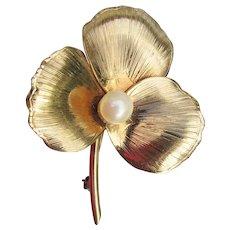 Vintage 12K Gold Filled Signed WINARD Leaf Clover Cultured PEARL Pin