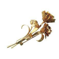 Vintage Carnation Flower Bouquet TREMBLER Pin