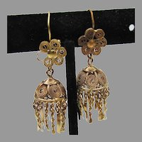 Vintage 1960's India Brass Pierced Dangle Earrings