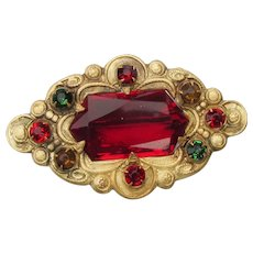 Victorian Ruby Red Paste Antique Pin