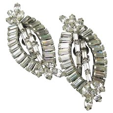 Big Spectacular Vintage Navette Rhinestone Climber Earrings