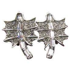Signed PELL Pretty Rhinestone LEAF Vintage Clip Earrings