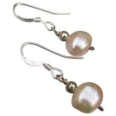 Dangle Sterling Silver Pale Peach Potato Freshwater Pearl Earrings