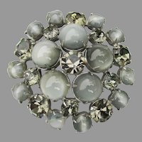 Chunky Domed Gray Glass Moonglow Cabochon & Rhinestone Vintage Pin
