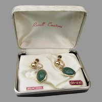 Vintage 1950's Russell Creations 12k Gold Filled Chrysoprase SCARAB Earrings, New In Box!