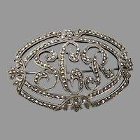 Fine 800 Silver & Marcasite Vintage 1930s Art Deco Initial Monogram Pin