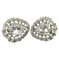 Signed Crown Trifari 1950's Vintage Teardrop Rhinestone Earrings