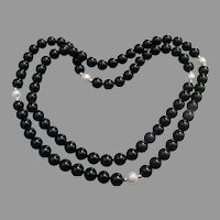 """14k Gold, Black Onyx & Cultured Pearl Bead Vintage 30"""" Necklace"""