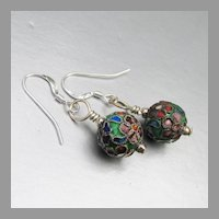 Sterling Silver & Genuine Hand Made Chinese Cloisonne Bead Dangle Vintage Earrings