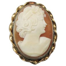Vintage 14k Gold Filled Carved Shell CAMEO Pin Pendant, Signed A&Z