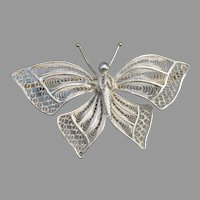 Extra Large Vintage 800 Silver Filigree Cannetille Butterfly Pin