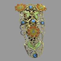 Spectacular Vintage Filigree, Enamel, & Rhinestone Deco Dress Clip Pin