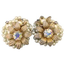 Stunning Vintage Signed Beau Jewels Faux Pearl & Rhinestone Flower Earrings