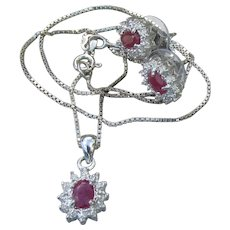 Sterling Silver Vintage RUBY Necklace & Earrings Set