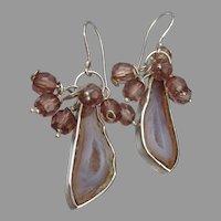 Druzy & Swarovski Crystal Bead Sterling Silver Dangle Earrings