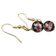 Vintage Pink & Black Cloisonne Bead Dangle Earrings