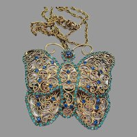 Magnificent 1960's Vintage Filigree Wire Work Rhinestone BUTTERFLY Pin or Necklace