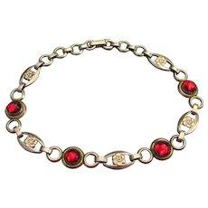 Pretty Retro 1940's Gold Filled Red Rhinestone Bracelet