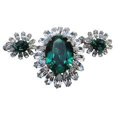 Spectacular Signed VENDOME Vintage Emerald Green Rhinestone Dress Clip Pin & Earrings Set