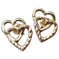 14k Gold Delicate Double Heart Open Work Vintage Stud Earrings