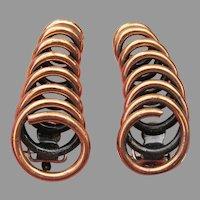 Signed RENOIR Vintage Mid-Century Modern Spiral Spring Copper Earrings