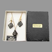 Carved Anthracite COAL Vintage Gold-Filled Necklace & Earrings Set, Mint in Box