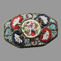 Very Old Vintage Italian Micro Mosaic Millefiori Pin