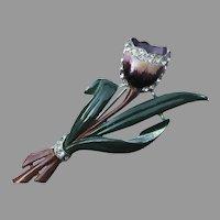 Rare Signed CORO Tulip Pin, 1939 Design Variation