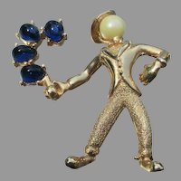 Signed BOUCHER Vintage Clown or Man with Blue Balloons Pin