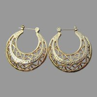 14K Gold 1980's Vintage Flat Filigree Hoop Earrings