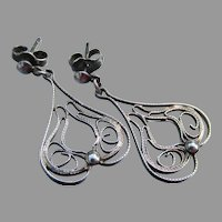 Vintage Spanish Style Filigree Sterling Silver Dangle Pierced Earrings