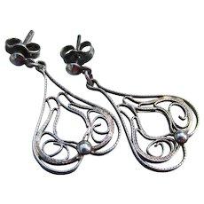 Vintage Spanish Style Filigree Sterling Silver Dangle Pierced Earrings