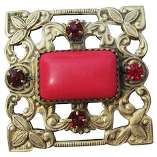Square Antique Victorian Faux Red Coral Cabochon Paste Pin