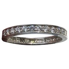 Sterling Silver CZ Vintage Channel Set Band Ring, Size 6