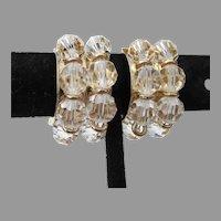 Signed NAPIER Vintage 1950's Crystal Bead Clip Hoop Earrings