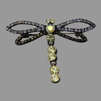 Pretty Vintage Dragonfly Dangling Tail Rhinestone Pin